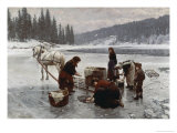 Winter's Day Laundering Giclee Print by Jahn Ekenaes