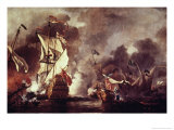 English Ship and Barbary Pirates Giclée-Druck von William Vandevelde