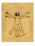 Menschliche Proportionen nach Vitruv Giclée-Druck von  Leonardo da Vinci