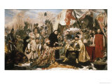 The Homage of the Prussians Premium Giclee Print by Jan Matejko