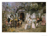 Tailors and Guitarist in the Garden Giclee Print by Jose Gallegos Y Arnosa