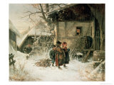 Children in the Snow Giclee Print by Bernhard Frohlich