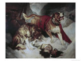 Alpine Mastiffs Reanimating a Distressed Traveller Giclee Print by Edwin Landseer