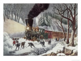 American Railroad Scene Reproduction procédé giclée par Currier & Ives