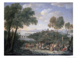 Italian Landscape with Sacrifice Giclee Print by Hendrik Frans Van Lint