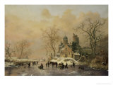 Figures on a Frozen Waterway, no.1 Giclee Print by Frederik Marianus Kruseman
