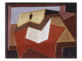 Guitar with Sheet of Music Giclee Print by Juan Gris