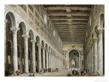 Interior of San Paolo Fuore Le Mure, Rome Reproduction procédé giclée par Giovanni Paolo Pannini