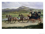 Coach and Four Horses on the Open Road Giclee Print by Alfred Frank De Prades