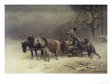 Logging in Winter Giclee Print by Heinrich Winter