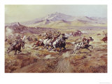 Stagecoach Attack Giclee Print by Celia Russell
