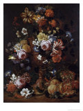 Roses, Carnations and Flower in an Urn Reproduction procédé giclée par Nicolaes van Veerendael