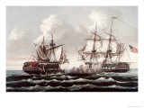 U.S.S. Constitution Defeating the H.M.S. Guerriere, War of 1812 Giclee Print by Thomas Birch