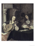 Woman Playing the Lute Giclee Print by Gerard ter Borch