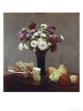 Still Life with Dahlias and Fruit Giclee Print by Henri Fantin-Latour