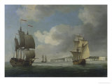 Shipping Off the South Coast of England Giclee Print by Charles Brooking