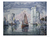 Entrance to the Port of La Rochelle Gicleetryck av Paul Signac