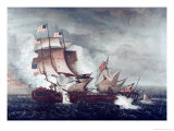 Battle of U.S.S. Constitution and H.M.S. Guerriere, War of 1812 Giclee Print by Thomas Birch