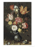 Tulips, Carnations, an Iris Premium Giclee Print by Balthasar van der Ast