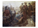 Return of Columbus in Chains to Cadiz Giclee Print by Emanuel Leutze