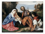 The Holy Family Gicle-tryk af Titian (Tiziano Vecelli)