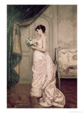 You Are My Valentine, Love Letter with Roses Premium Giclee Print by Auguste Toulmouche