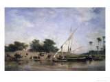 Boats on the Nile Reproduction procédé giclée par Eugene Fromentin