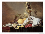 Lobster, Oyster and Lemon Lámina giclée por Jan Davidsz. de Heem