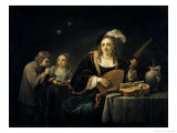Lady Playing a Lute Giclee Print by David Teniers the Younger