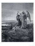Jacob Wrestling with the Angel Giclée-tryk af Gustave Doré