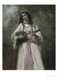 Gypsy Girl with Mandolin Giclee Print by Jean-Baptiste-Camille Corot