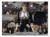 Bar at the Folies, Bergeres Reproduction procédé giclée par Édouard Manet