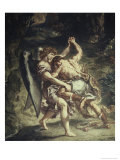 Jacob Wrestles with the Angel Giclee Print by Eugene Delacroix
