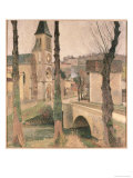 Bridge, Church and School at La Bastide Premium Giclee Print by Henri Martin