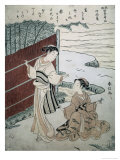 Man and Woman by a Hedge Giclee Print by Suzuki Harunobu