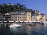 Hillside Village by Harbor, Portofino, Italy Photographic Print by Barry Winiker