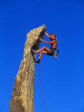 Female Rock Climber Papier Photo par Greg Epperson