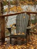 Autumn Leaves on Chair by Lake, Ontario, Canada Photographic Print by Keith Levit