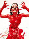 Caucasian Woman Covered in Blood Photographic Print by Jim McGuire