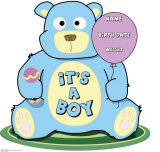 It's A Boy Teddy Bear Lifesize Standup Cardboard Cutouts