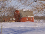 Barn and Snow Scene, Gimli, Manitoba Photographie par Keith Levit