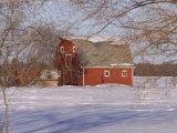 Barn and Snow Scene, Gimli, Manitoba Photographic Print by Keith Levit