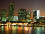 City Skyline at Night, Miami, FL Photographic Print by Jeff Greenberg