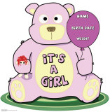 It's A Girl Teddy Bear Stand Up