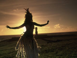 Polynesian Dancer, Ahu Tahai, Easter Island Photographic Print by Angelo Cavalli