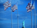 Statue of Liberty and American Flags Photographic Print by Peter Adams