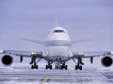 Airplane Steering Through Snow, Chicago, IL Photographic Print by Peter Schulz