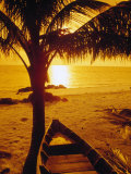 Fishing Boat Under Palm Tree, Sunset, Kho Samui Photographic Print by Kevin Law
