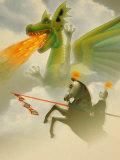 Businessman-Knight Fighting Dragon Photographic Print by Carol and Mike Werner