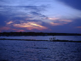 People Walking by Water at Sunset, Scituate, MA Photographic Print by Rick Berkowitz